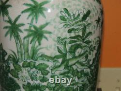 Chinese Lampe 28 Vase Porcelaine Peint À La Main Unie Wilson Rose Palmiers Vert