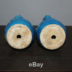 Chinese Old Statues Marqué Paire Bleu Glaze Porcelaine Foo Dogs