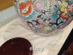 Chinese Porcelaine Fish Bowl Planter 14,5 X 12 Hauteur Floral Stand
