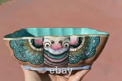 Chinois 1900 Famille Rose Turquoise Glaze Porcelaine Papillon Papillon De Nuit En Forme De Cuvette