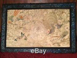 Chinois Antique 19 C Soie Panneau 100 Embroidered Oiseaux Broderie 88 X 58 CM