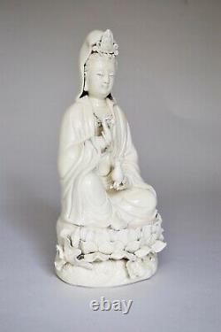 Chinois Antique Dehua Blanc De Chine Kuan Yin (guanyin) Avec Mark