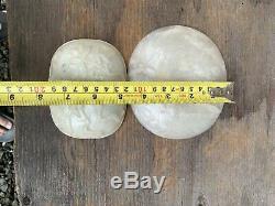 Chinois Antique Deux Big White Jade Qing Chine Asie