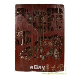 Chinois Antique Guerre Champ 3d Or Gilt Panneau De Sculpture Sur Bois