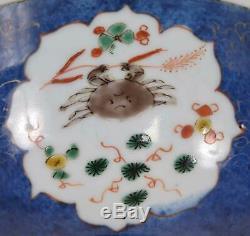 Chinois Bleu Poudre D'or Et De Fer Rouge Bol En Porcelaine Boy & Sea Life Kangxi Période