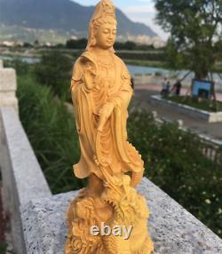 Chinois Boxwood Wood Carving Guan Yin Ride Dragon Goddess Bodhisattva Statue