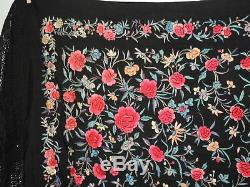 Chinois Brodé Main Antique Soie Lourde Colorful Shawl Piano W Fringe