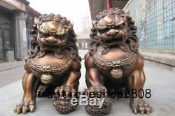 Chinois Bronze Cuivre Fengshui Mal Gardien Porte Bête Fu Foo Dog Lion Paire