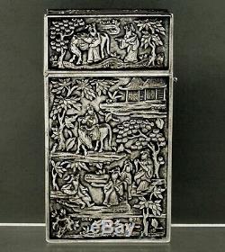 Chinois D'exportation Argent Boîte C1875 Arts Martiaux Watkand Famille