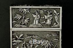 Chinois D'exportation D'argent Boîte Porte-cartes C1850 Khecheong