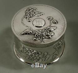 Chinois D'exportation D'argent Tea Caddy Boîte À Thé C1890 Signé