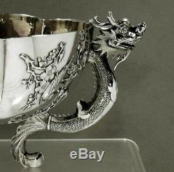Chinois D'exportation Silver Dragon Bowl C1885 Hongxing