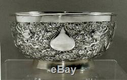 Chinois D'exportation Silver Dragon Bowl C1890 Aile Fat