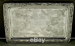 Chinois D'exportation Silver Dragon Plateau Luenwo Décorés Main