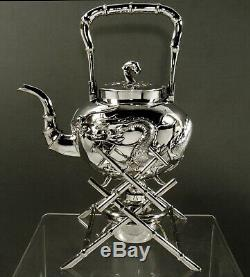 Chinois D'exportation Silver Dragon Tea Set C1890 Cheong Shin 42 Oz