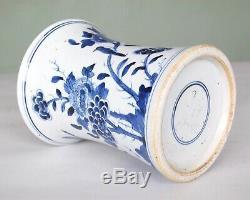 Chinois De Transition Porcelaine Bleue Et Blanche Vase Pot Brosse, Dynastie Qing