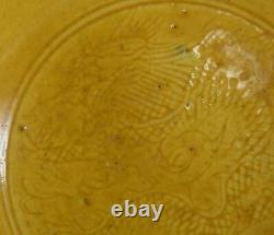 Chinois Dragon Chasing Yellow Pearl Flaming Bol En Porcelaine Kangxi Mark & période