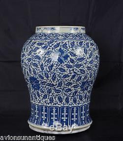 Chinois En Porcelaine Bleu Et Blanc Lotus Glaze Vase Dynastie Qing 48cm Antique