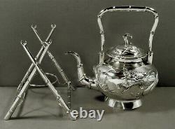 Chinois Export Silver Dragon Tea Set C1890 Yok Sang