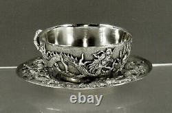 Chinois Export Silver Tea Set Dragons In Flames