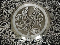 Chinois Export Silver Wine Coaster Plateau C1890 Nanking Silver Co