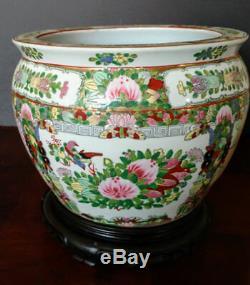 Chinois Grand Old Famelia Rose & Or Porcelaine Poisson, Planteur, Jardiniere 1800