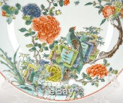 Chinois Kangxi Des Qing MC Wucai Famille Verte Fleur & Bird Assiette En Porcelaine