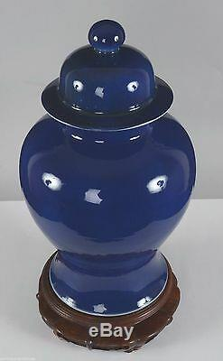 Chinois Monochrome Bleu Glacé Mazarin Porcelaine Pot Lidded 19ème Siècle