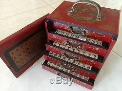 Chinois Old Mah-jong 144 Set Jeu Avec Bois Dragon Phoenix Dessiner Box