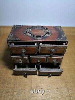 Chinois Qing Dynasty Antique Yellow Boxwood Boîte À Bijoux En Bois Storage Box Evo