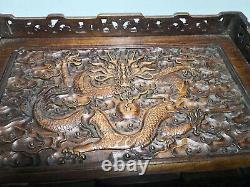 Chinois Qing Dynasty Vieux Bois Jaune Antique Main Sculptant Le Plateau De Dragon Evo