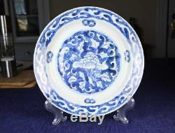 Chinois Wanli Bleu Et Blanc Pivoine Ming Plat Avec Provenance 16 C