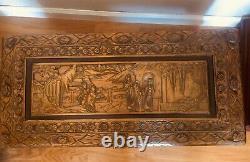 Chinois/asiatique Main Sculpté Antique Coffre/tronc En Bois 27 In. Long 14.50 Hauteur