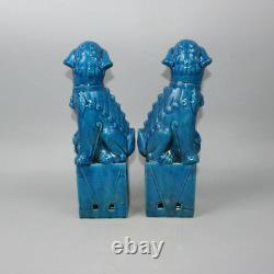 Chinoise Vieille Paire Marqué En Bleu Glaze Porcelaine Foo Statues Dog