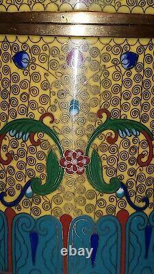 Cloisonne Antique Tobacco Ou Thé Humidor Chinois Foo Dog Émail Bronze Jar