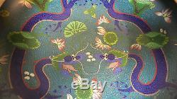 Cloisonne Chinoise Du Xixe Siècle Sur Bol Dragon Bronze, Marque Tongzhi, Dynastie Qing