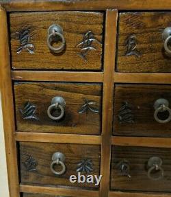 Coffre Chinois Vintage D'apothicaire Avec 16 Tiroirs