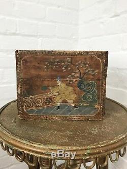 Coffret Caddy Thé Chinois Antique Peint À La Main Oriental Vintage Décoratif