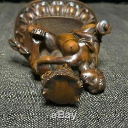 Collection Bouddhisme Chinois Vieux Tibétain Boxwood Faire L'amour Heureux Bouddha Statue