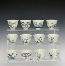 Collection Complète Fin Ensemble De 12 Qing Chinois Doucai Florale Porcelaine Tasse De Vin