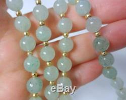 Collier Doré Vintage En Or 14k À Jade Blanc Et Vert Sur Fond De Glace Délicate Chinoise