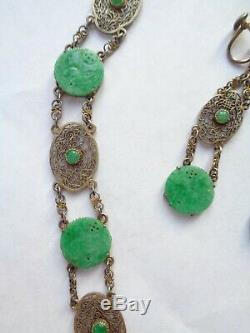 Collier En Argent Sterling Avec Jade Vert Taillé Antique Chinois D'asie + Boucles D'oreilles