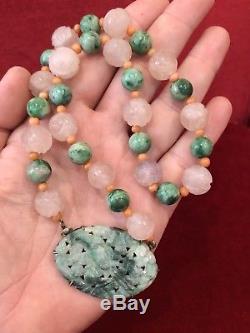 Collier Pendentif En Perles De Quartz Taillé Jade Corail Rose Antique Chinois Des Années 1920