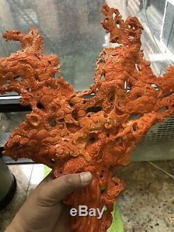 Corail Sculpté Chinois Exceptionnel 1346 Grammes