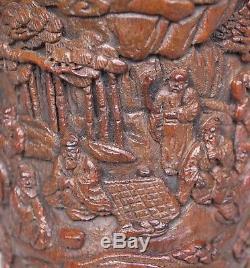 Coupe De Libation En Pin Sculpté, Chine, Dynastie Qing