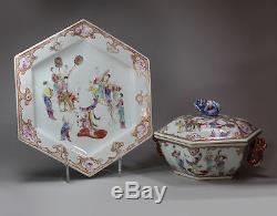 Couvercle Et Support De Soupière Hexagonale Antique Chinoise