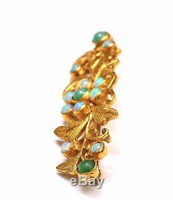Début 20c 22k Or Opale Chinoise & Jadéite Jade Sculpté Broche Broche Perle Marquée