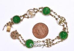 Début 20c Chinois 18k Or Jade Jadéite Sculpté Sculpté Coin Bracelet