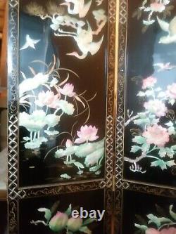 Diviseur Chinois Antique De Salle De Panneau De Nacre 4. Black Laquer Années 1940 72