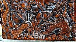 Dragons Sculptés En Bois Et Camphres De Chine Antiques Et Coffre À Couverture De Scène De Combat 29,5 L